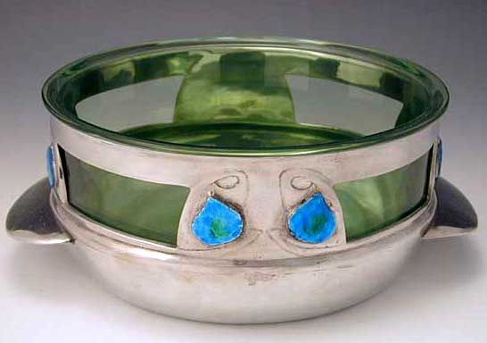 Liberty & Co Archibald Knox Polished pewter bowl with 8 enamel blue/green…