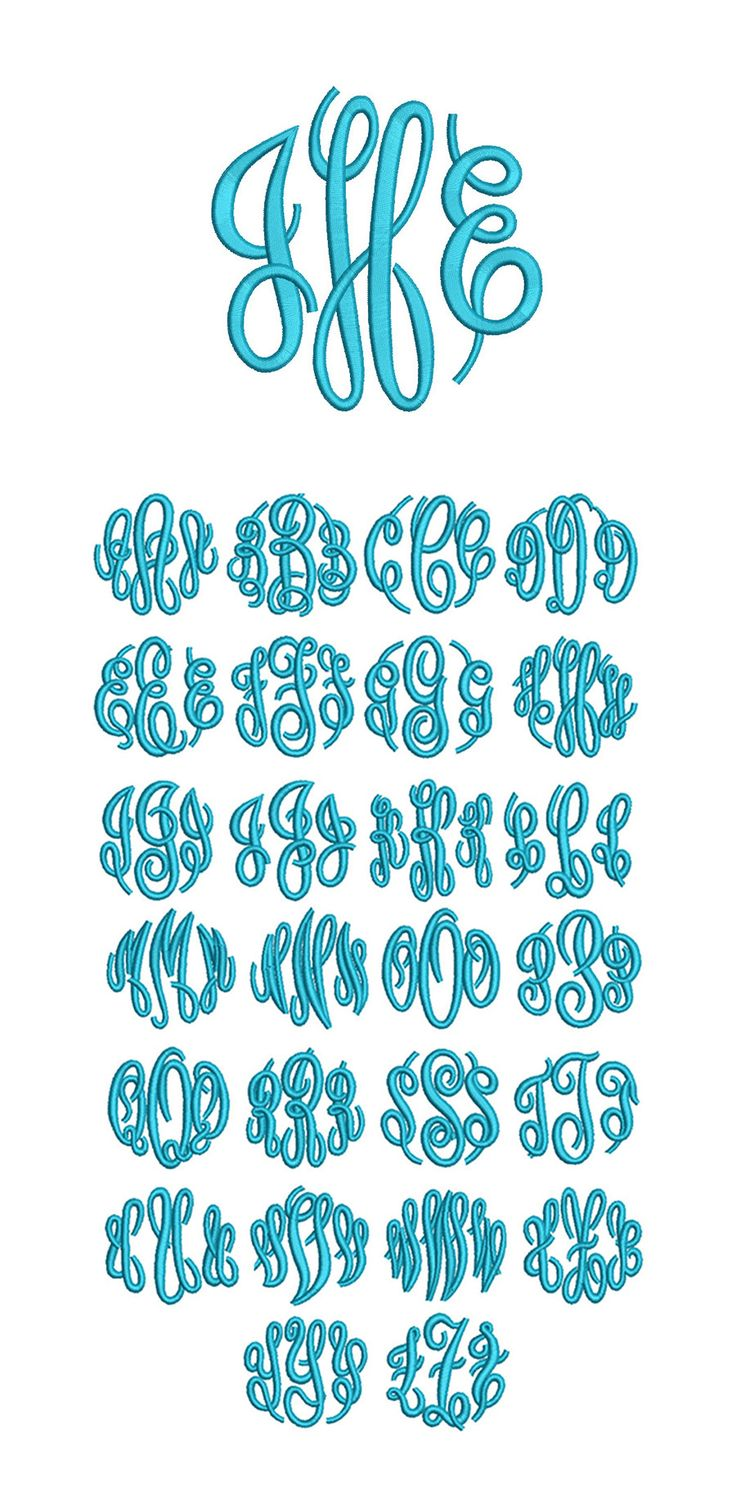 HAVE New! by JuJu looks thicker Circle Script Embroidery Monogram