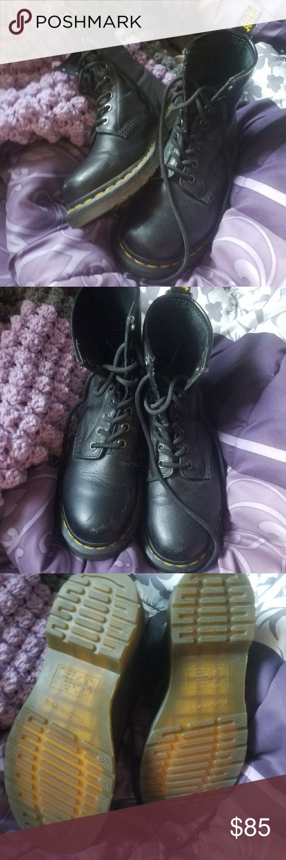 Dr. Marten' s size 4/6 Dr. Marten's original combat boots in black with yellow stitching  in good condition Dr. Martens Shoes Combat & Moto Boots