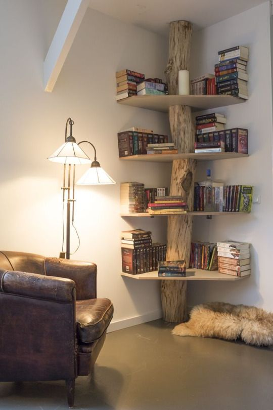 Home Decor Obsession- LOVE this corner bookshelf coming off a tree trunk…