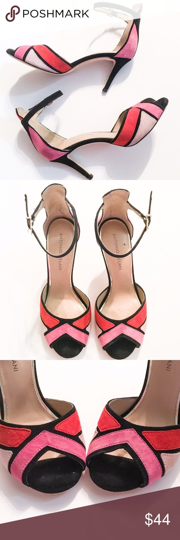 Antonio Melani Geometric Suede Peep Toe Heels Fabulous pink, red and black suede peep toe heels with ankle straps from Antonio Melani! These beautiful shoes are in good preloved condition and show some minor signs of wear as shown in the pictures, but there are no apparent flaws and lots of life left! ANTONIO MELANI Shoes Heels
