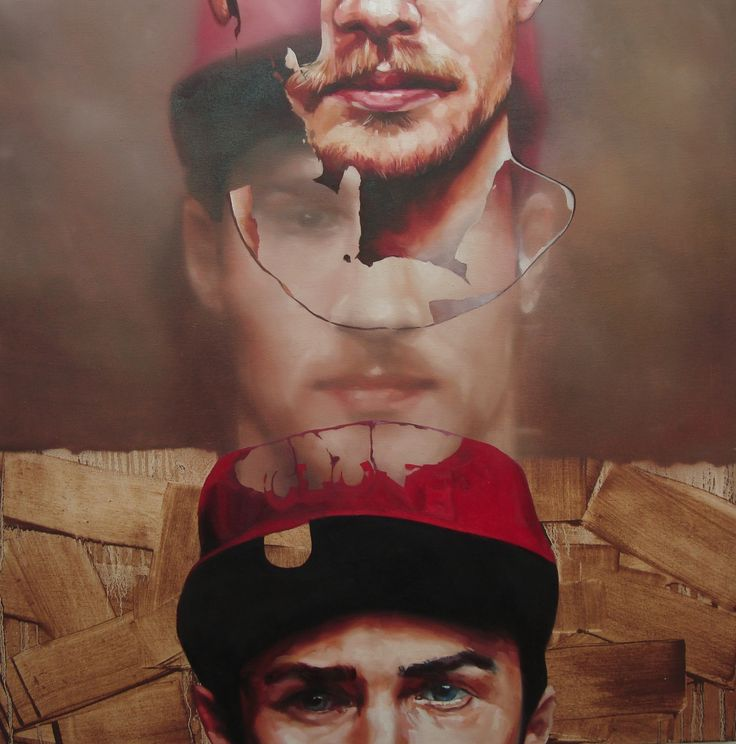 "Portrait by Corné Eksteen - ""The Clone"" Oil on canvas, 100 x 100cm"