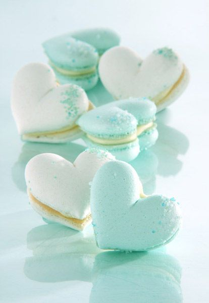 Tiffany macarons in heart-shaped