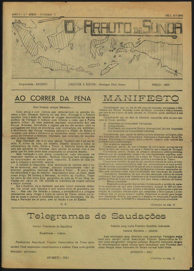 "APODETI newspaper, ""O Arauto de Sunda"", 1974."