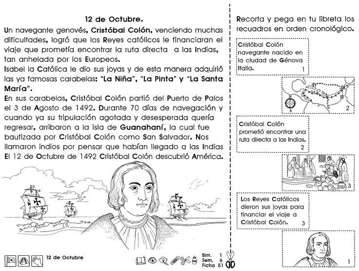 Ficha sobre el descubrimiento de América 12 de octubre. Para recortar, colorear y pegar en la libreta. Ideal para niños de segundo ciclo de primaria.