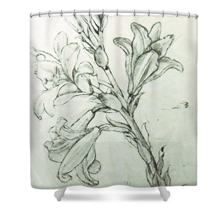 Leonardo Da Vinci Shower Curtain featuring the digital art Leonardo Da Vinci - Drawing Of Lilies For An Annunciation by PixBreak Art