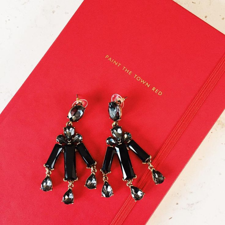 Earrings: My Shining Armour Albert Black Drop Statement Earring. Notebook: My Shining Armour Kate Spade Paint The Town Red.  Shop now at http://myshiningarmour.com