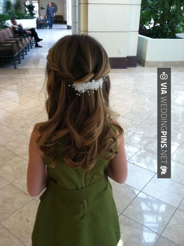 abby – Flower girl hair for wedding, waterfall style