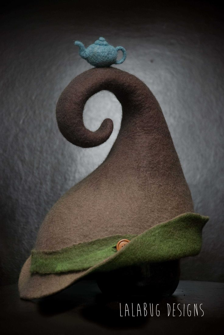 Mr Curly inspired felt hat. hand sculpted by lalabug designs