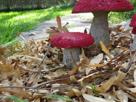 Garden Mushroom, Red Top Hypertufa Mushroom, Fairy Garden Mushrooms, Garden Art, Woodland. 19.00, via Etsy.