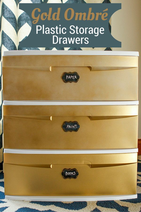 Decorate Plastic Storage Drawers -- transform a basic plastic storage cart with gold ombré spray paint and chalk paint labels! This is an especially great project for students heading off to college... Inexpensive yet pretty storage is hard to come by! Supplies available at Walmart.