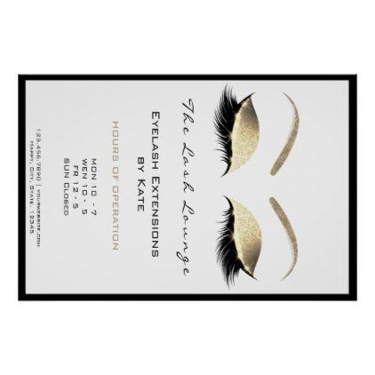 Makeup Beauty Salon Name Gold Glam Adress Opening Poster - glitter gifts personalize gift ideas unique