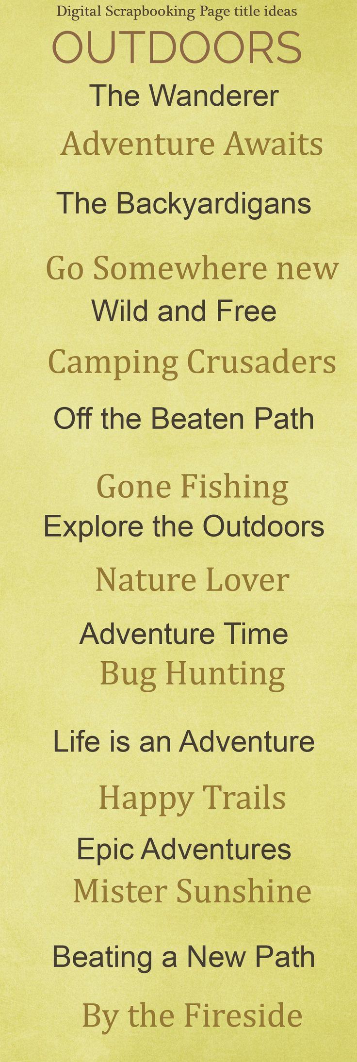Zoo animal scrapbook ideas - Outdoor Scrapbook Titles Fishing Boys Woods