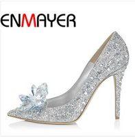 Enmayer adultos película de encaje tacones altos mujeres novia zapatos tacones delgados Rhinestone mariposa plataforma cenicienta zapatos cristalinos