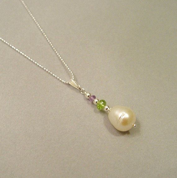 """Suffragette Pearl  Amethyst Peridot Gemstones Sterling Silver Necklace 18/"""" Chain"""
