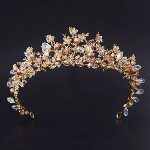 """Τιάρα, Στέμμα Γάμου, Μεγαλοπρεπής, Χρυσαφί Χρώμα, Vinatge, με Κρύσταλλα """"Cleopatra"""" - memoirs.gr"""