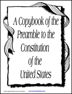 Freebie-Copybook of the Preamble to the Constitution of the United States