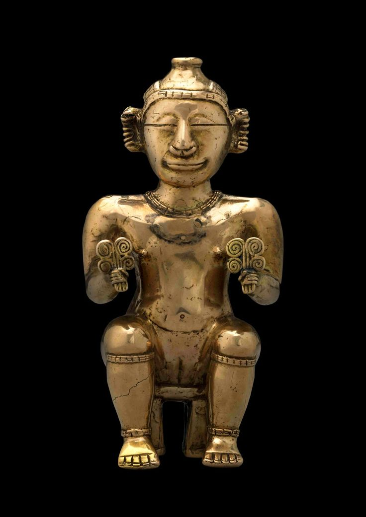 Seated female poporo, Quimbaya, gold alloy, AD600-1100. © The Trustees of the British Museum.