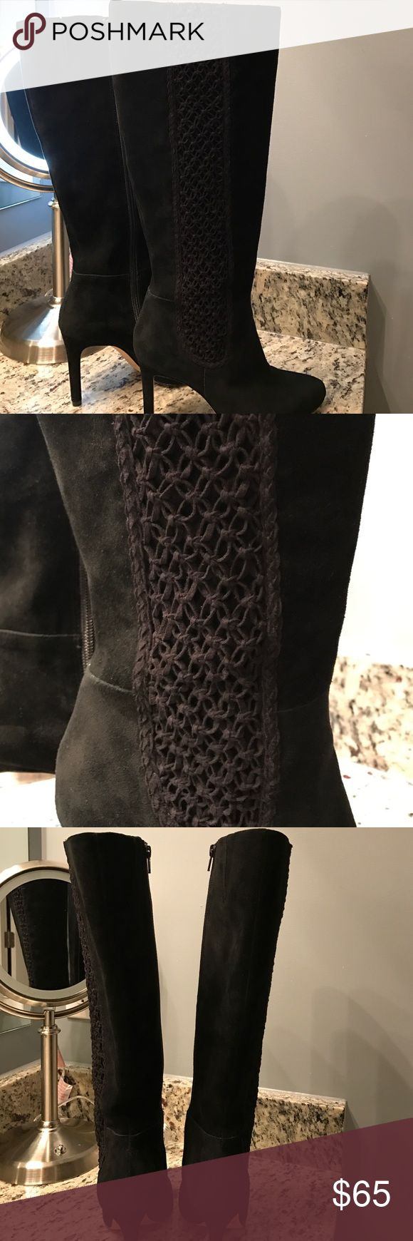 """Black Suede Knee High Boots Antonio Melani black suede knee high boots with weave pattern on the outside of each boot. These are a size 7.5 that I purchased after my bunion surgery because I had to go up a size. I've only worn them one time and these are absolutely beautiful and excellent condition.   Diameter around top is 15"""" and from top to base of boot is 17.5"""" and the heel is 3.5"""". I have small feet and wide calves (an Asian thing) and wear a 6.5. Needs a new owner!😘🙌🏼 ANTONIO MELANI…"""