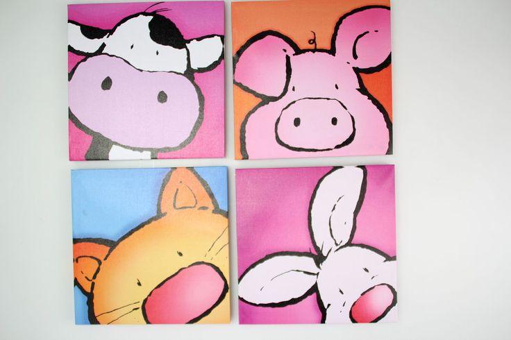 Bilder Kinderzimmer Leinwand Kuh, Schwein, Katze, Hase - Keilrahmen
