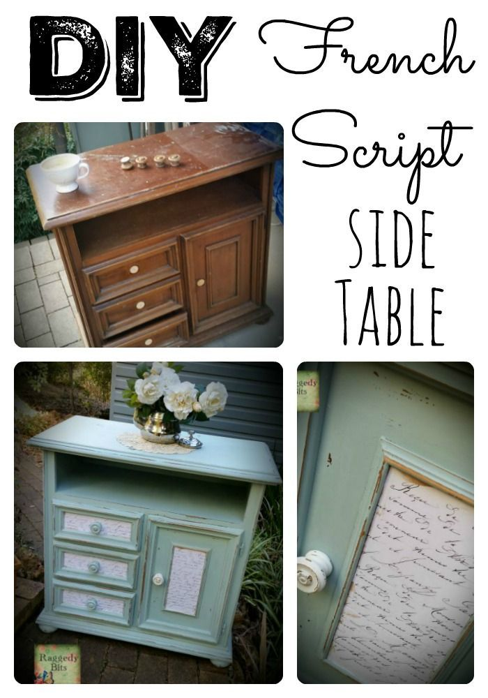 DIY French Script Side Table | http://www.raggedy-bits.com