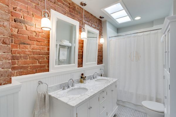 All white fixtures and wainscoting with exposed brick? Maybe with blue-gray vanity?