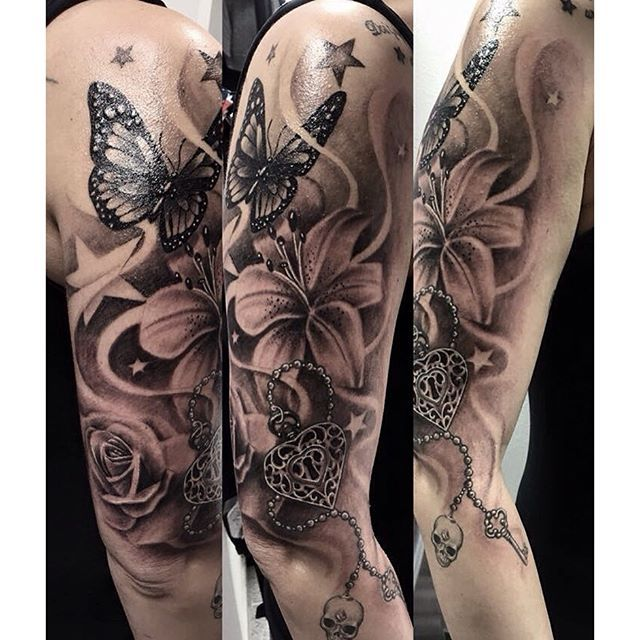 ... ink #sleeve #rose #lily #butterfly #heart #skull #key #star #tattoo