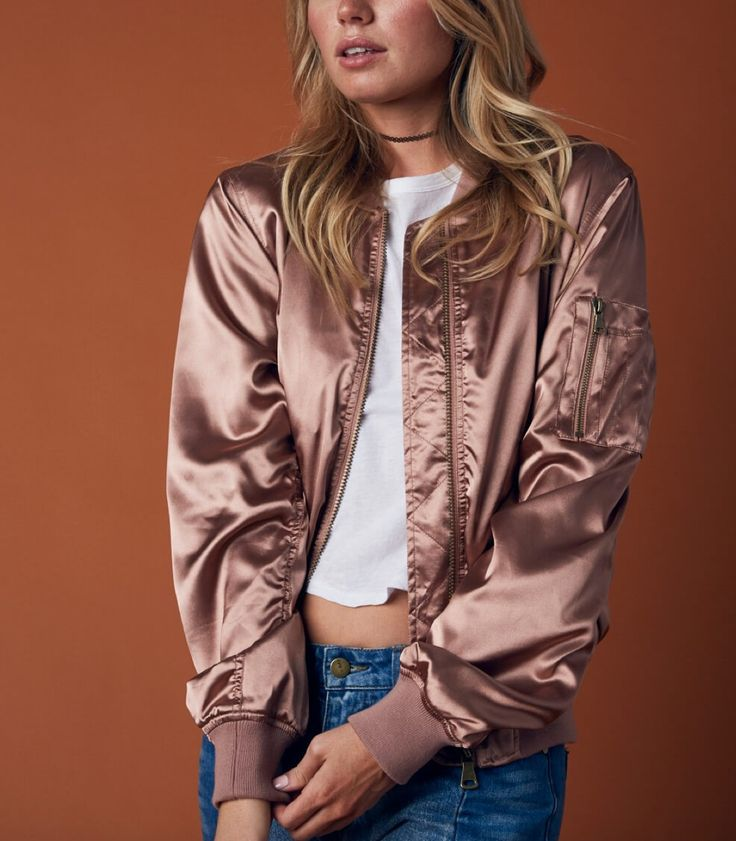 lightweight satin bomber jacket - rose gold - shophearts - 1