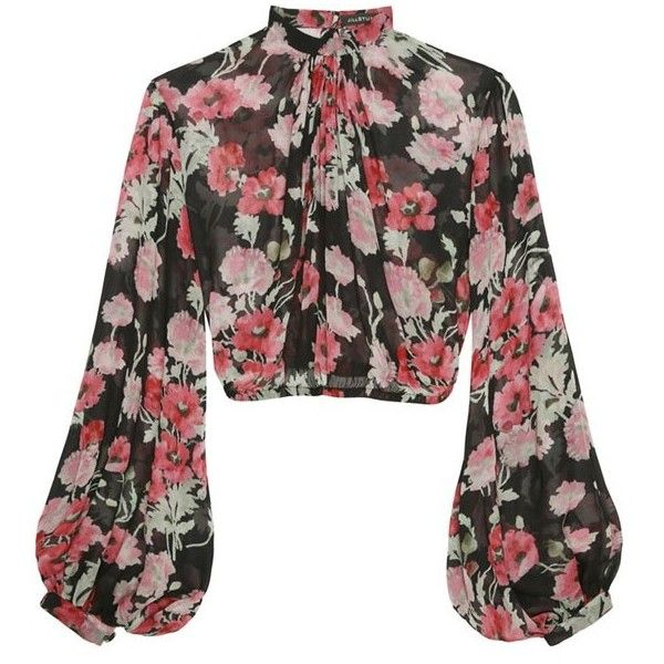 Jill Stuart Serge Floral Georgia Blouse ($298) ❤ liked on Polyvore featuring tops, blouses, floral blouse, long-sleeve crop tops, sheer sleeve blouse, crop top and blouson blouse