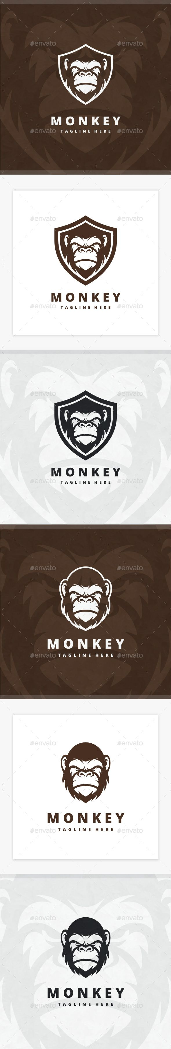 Monkey Logo - #Animals #Logo Templates Download here: https://graphicriver.net/item/monkey-logo/20388798?ref=alena994
