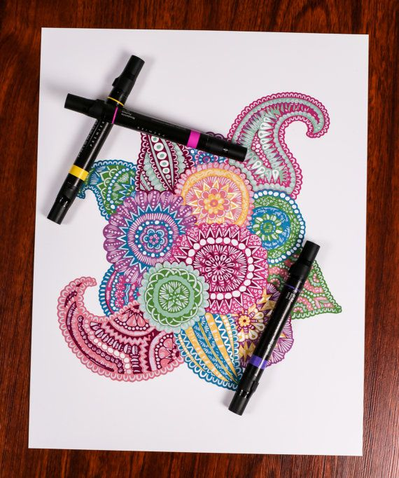 Zentangle Floral Circles by ZenspireDesigns on Etsy