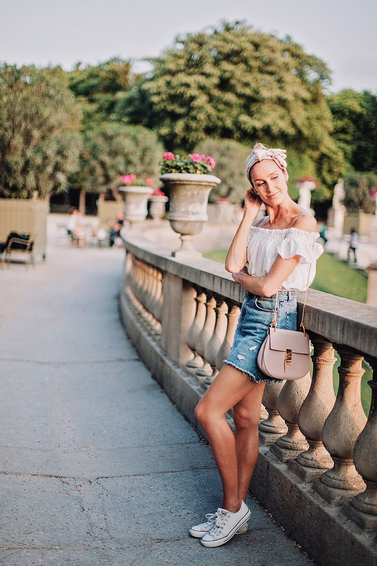 Outfit with denim skirt, printed scarf and an off-shoulder top in Jardin du Luxembourg, Paris. - Anna Pauliina, Arctic Vanilla blog.
