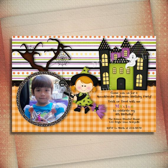 Girl Halloween Birthday Invitation Halloween by MVDesignInk