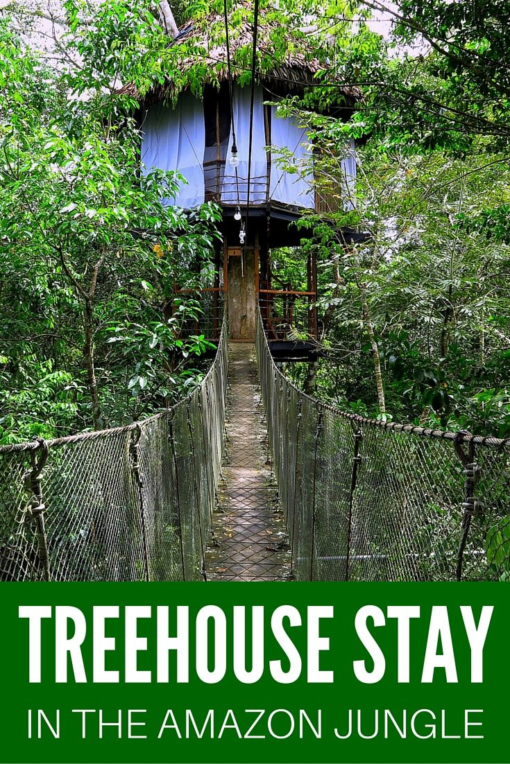 PERU TRAVEL: A jungle treehouse stay in the Peruvian Amazon. This place is called the Treehouse Lodge and it is located about 1 hour by boat from Nauta, Peru. Talk about unique accommodations around the world!