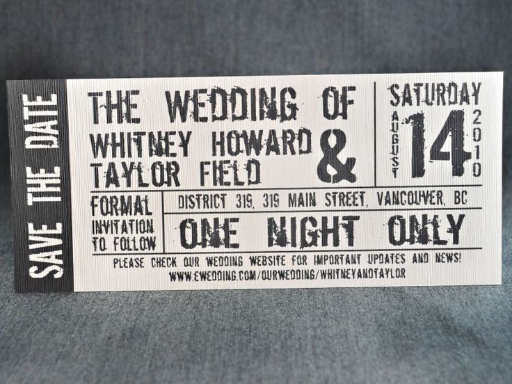 concert ticket save the date/invite.  nice!