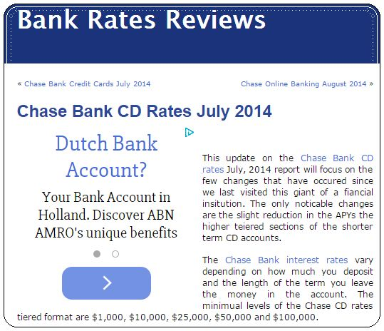 The Banker: Chase Bank CD Rates July 2014