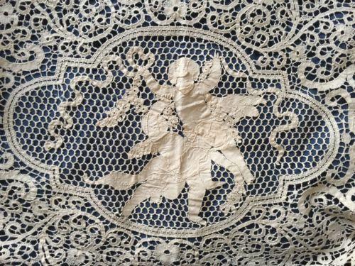 Старинные ручной канту бобинное кружево обслужим скатерть-покрывало амуры драконы   eBay