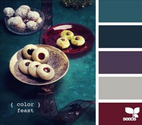 Jewel tones are in for the 2014 Fall season.  This color palette features teals and purples, with a beautiful pop of burgundy.