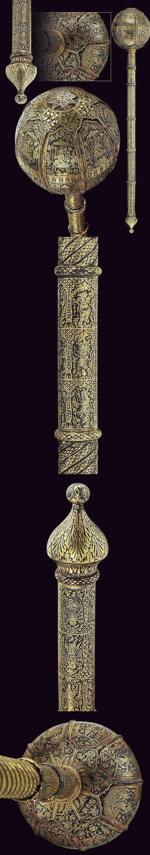 An important baton-mace, provenance: India Moghul dating: 18th Century .