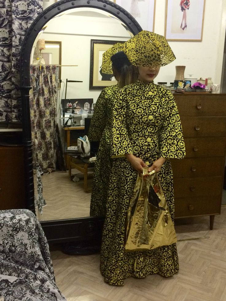 London Fashion week Feb ready for The Ridnik Band party with Yellow vintage 1950s dress and Noel Stewart Hat Youxu Wong gold bag