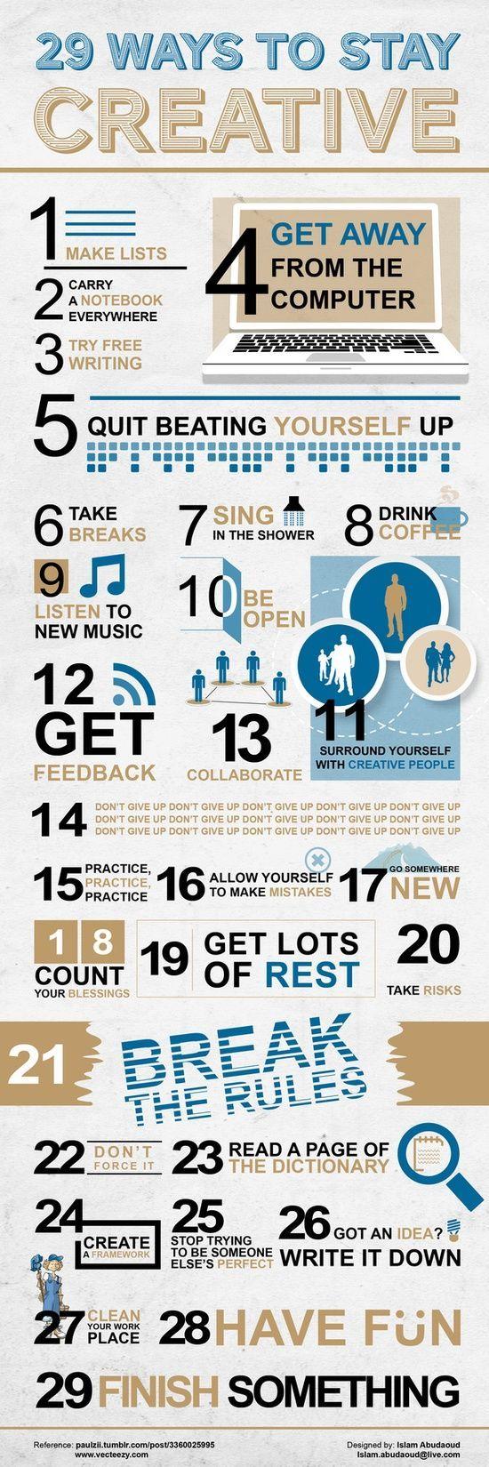 29 Ways to Stay #Creative - via @FancyHands #Career #SocialMedia