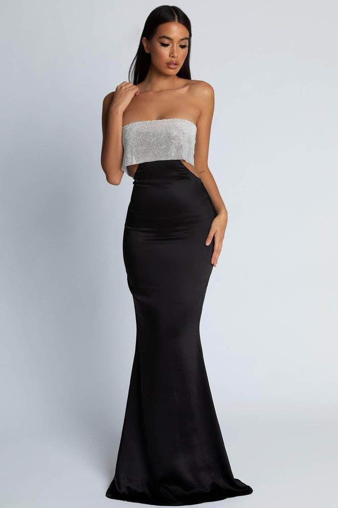138f04fe6d Genesis Strapless Diamante Maxi Dress - Black in 2019