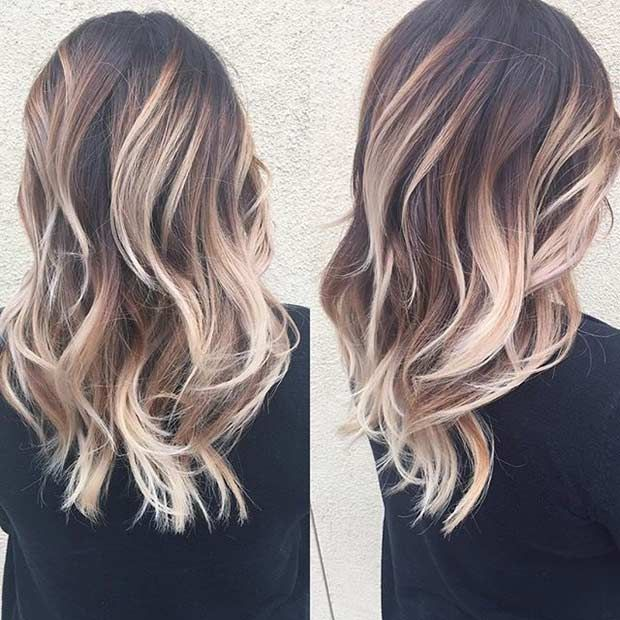 Blonde Balayage Highlights on Brunette Hair