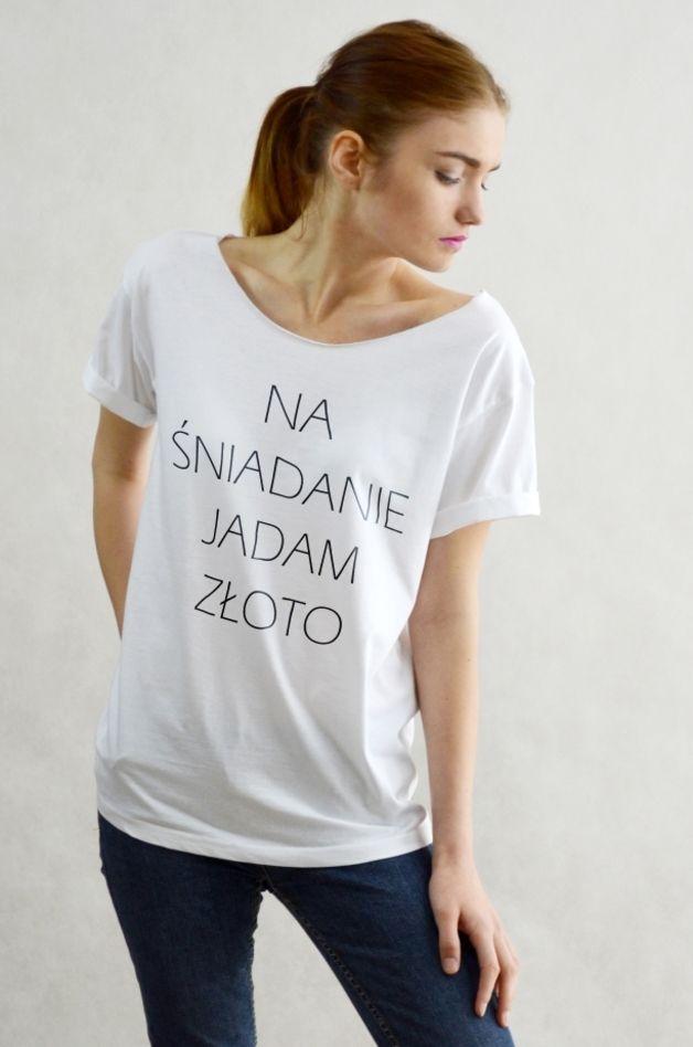 ZŁOTO - Koszulka Oversize szeroki dekolt T-shirt - great_as_you - Koszulki z nadrukiem