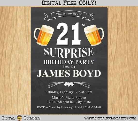 21st Birthday Invitation Cheers & Beers Invite Surprise Birthday Chalkboard…
