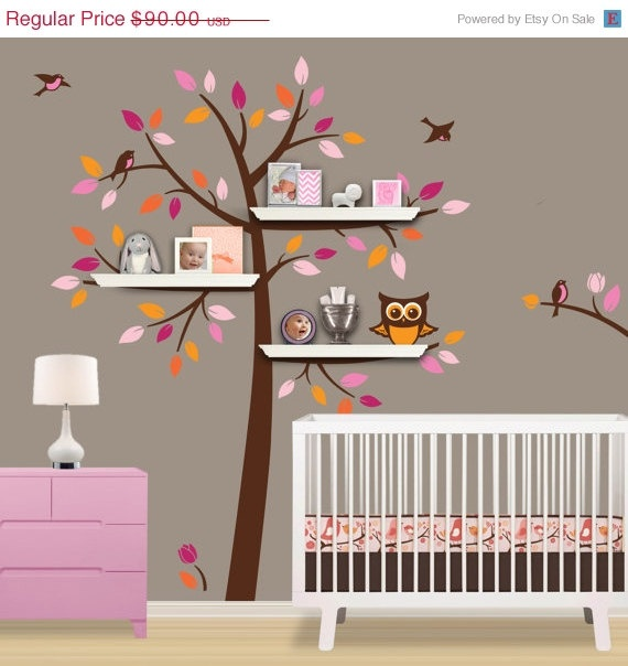 SALE  10 OFF Shelf Tree Decal  Children Wall Decal  by Lulukuku, $81.00