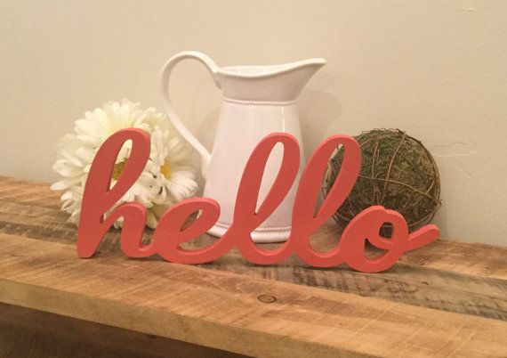 Hello Wooden Wall Art Hello Free Standing Wood word ONLY $10 !!