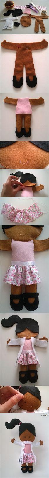 Tutorial boneca dentista em feltro #artesanato #decoração #boneca #costura #diy…