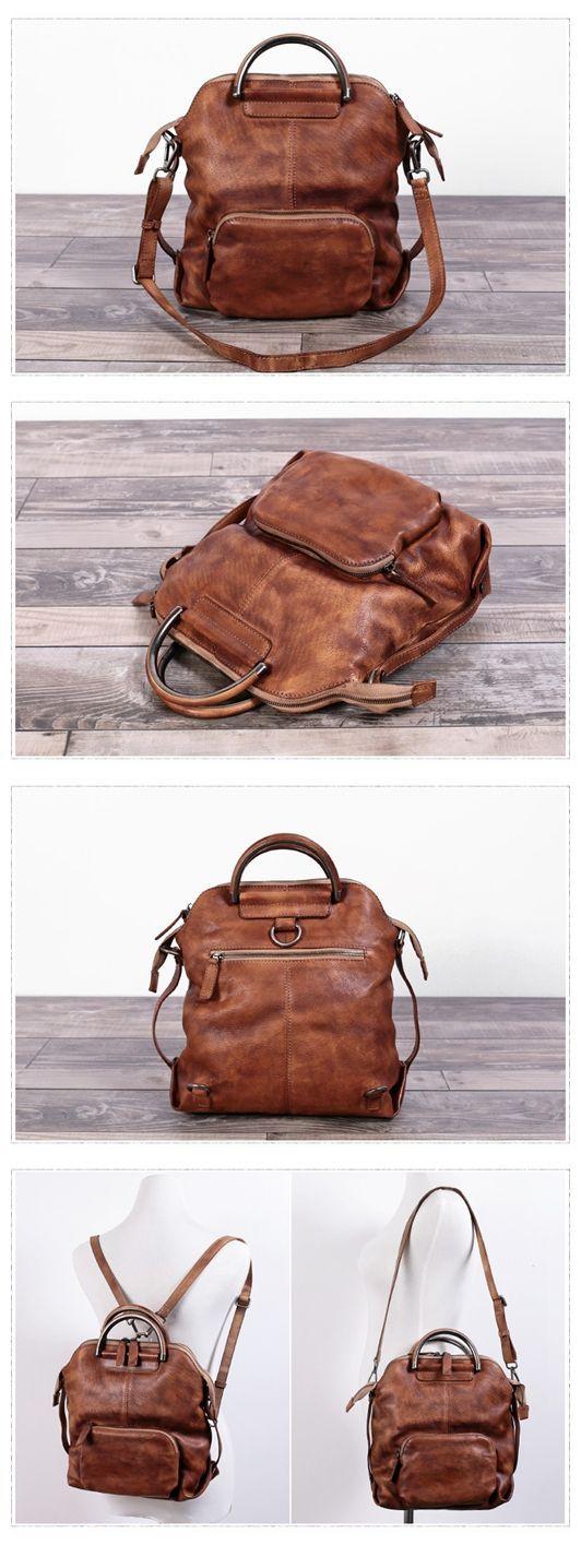 Handmade Women's Fashion Full Grain Leather Handbag Messenger School Backpack in Brown WF57