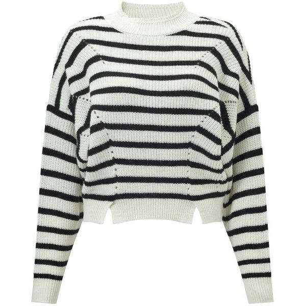 e3db0b1a16bd Miss Selfridge Striped Pointelle Crop Knitted Jumper (170 BRL) ❤ liked on  Polyvore featuring tops, sweaters, black, long sleeve sweater, crop tops,  stripe ...